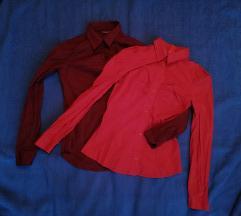 Lot dvije strukirane košulje - crvena i bordo