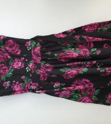 Lady Vintage crna haljina na ljubicasto cvijece