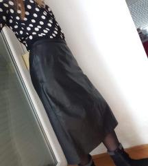 Kožna midi suknja, prava koža