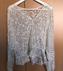 FREE PEOPLE Bijeli top sa apliciranim sljokicama