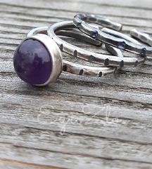 Trodjelni prsten ametist