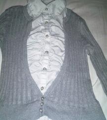 Siva (poslovna) košulja/vesta - 2u1 - 36