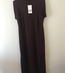 Zara midi haljina sa jastucicima za ramena