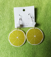 Naušnice limuni, okrugle, nove