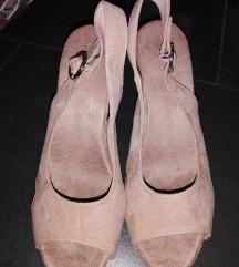 Prljavo roza sandale wedge