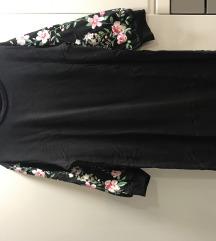 Crna tunika sa cvijetnim rukavima