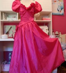 80s ciklama vintage haljina sa mašnom