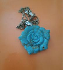 Tirkizna ruža/ ogrlica