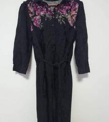 Reserved crna tunika košulja s cvjetnim detaljima
