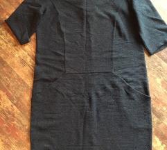 Metalik plava haljina ravnog kroja s džepovima