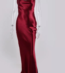 Saten cami crvena haljina