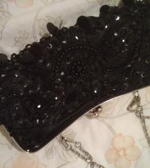 svecana torbica crna, perlice