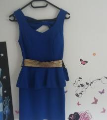 sexy plava večernja haljina