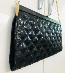 Vintage crna kožna  pismo torba zlatni lanac