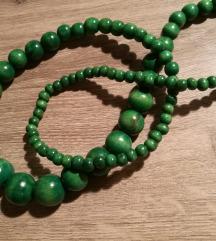 Zelena drvena ogrlica