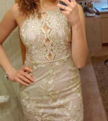 Svecana zlatna cipkana haljina