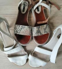 bijele sandale, kožne