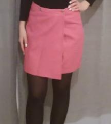 Pink kožna suknja