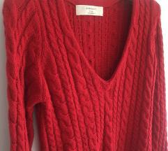 Zara crveni pleteni džepmer vel M