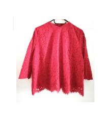 H&M crvena čipkasta bluza (pt gratis)