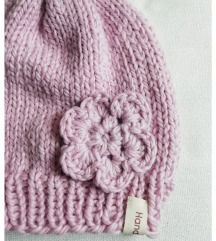 Roza pletena kapa za djevojčice