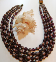 Raskošna četverostruka staklena vintage ogrlica