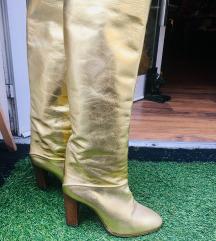 Zlatne kozne cizme vintage nove
