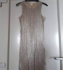 Plisirana srebrna H&M haljina
