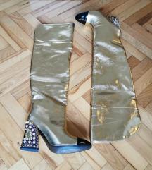 Visoke zlatne cizme 38