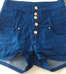 Plave kratke hlače visoki struk