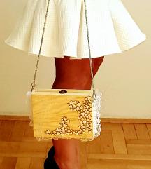 Handmade drvo i čipka torbica