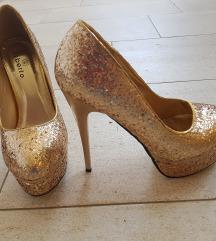 zlatne glitter štikle, br 38