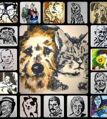 Crteži/portreti s flomićima