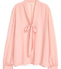 H&M roza bluza s mašnom / svečana