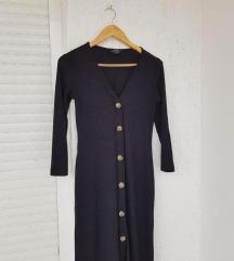 BERSHKA crna midi haljina dugih rukava