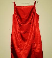 Ženska koktel crvena haljina s naramenicama
