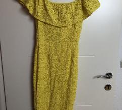 Žuta haljina čipka