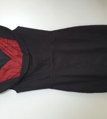 Crno crvena koktel haljina