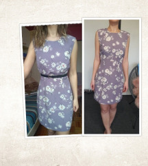 Lila/ljubičasta cvjetna haljina, vel. S (36)