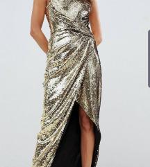 Asos zlatna šljokasta haljina