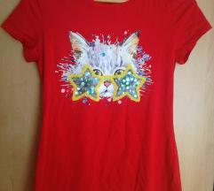 NOVA Crvena majica s printom mačke