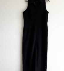 Crna haljina s prorezom naprijed i kragnom M-L