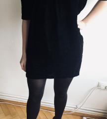 LINDEX baršunasta mala crna haljina 36/38