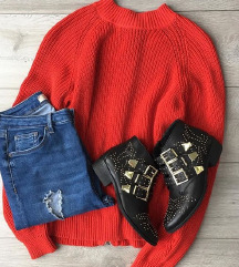 H&m koraljni pulover sa zipom xs 34