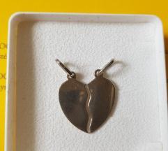 Srebrni privjesak srce polovice