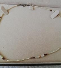 Tanka biserno-srebrna ogrlica