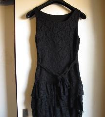 Crna čipkasta haljinica/tunika