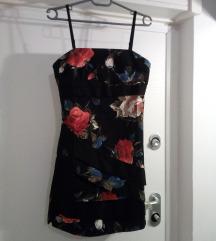 crna cvjetna haljina-kao nova