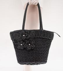 Crna pletena torba