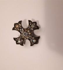 Vintage križić-broš s kristalićima